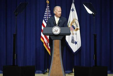U.S. Vice President Joe Biden delivers remarks during a White House Community Leaders Briefing on Seniors Issues, at the Eisenhower Executive Office Building in Washington July 16, 2012. REUTERS/Jonathan Ernst