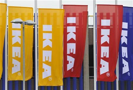 Ikea flags are seen at the Wembley branch of the Swedish international furniture and home accessories company in west London October 15, 2010. REUTERS/Toby Melville