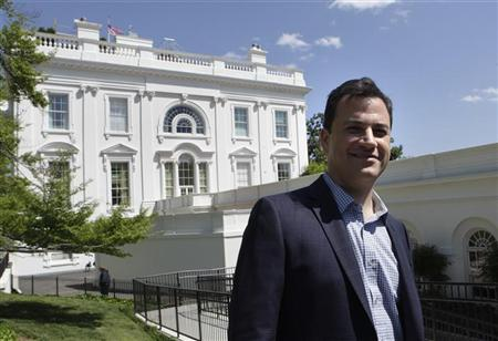 Television host Jimmy Kimmel poses outside the White house before a visit to the press room House in Washington April 27, 2012. REUTERS/Yuri Gripas