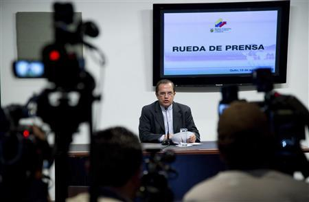 Ecuador's Foreign Affairs Minister Ricardo Patino attends a news conference at his office in Quito August 15, 2012. REUTERS/Guillermo Granja