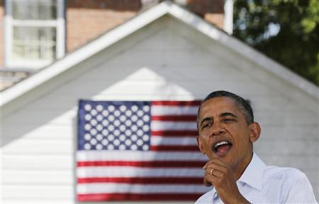 U.S. President Barack Obama talks at a campaign event at the Nelson Pioneer Farm and Museum in Oskaloosa, Iowa, August 14, 2012. REUTERS/Larry Downing