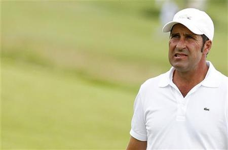Jose Maria Olazabal of Spain reacts on the third hole during the first round of the French Open golf tournament at the Golf National course in Saint-Quentin-en-Yvelines, near Paris July 5, 2012. REUTERS/Regis Duvignau