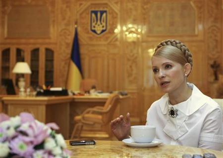 Yulia Tymoshenko speaks in her cabinet of the Ukrainian prime minister in Kiev in this March 2009 handout photo. REUTERS/Alexander Prokopenko/Yulia Tymoshenko Press Service/Handout