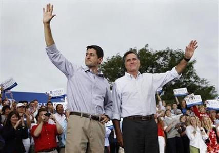 Republican U.S. presidential candidate Mitt Romney (R) and vice president select U.S. Congressman Paul Ryan (R-WI) wave to supporters during a campaign event in Waukesha, Wisconsin August 12, 2012. REUTERS/Shannon Stapleton