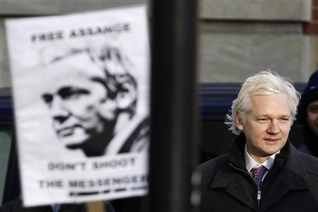 WikiLeaks founder Julian Assange arrives at the Supreme Court in London, in this February 1, 2012 file photo. REUTERS/Stefan Wermuth/Files