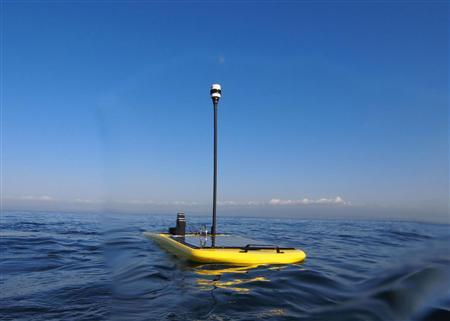 The Wave glider in an image courtesy of Liquid Robotics. The floating robot has been deployed to track great white sharks in the Pacific as part of efforts to understand the giant predators. REUTERS/Handout