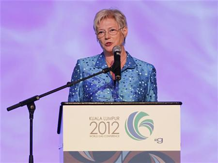 Executive Director of International Energy Agency (IEA) Maria van der Hoeven speaks during the World Gas Conference 2012 in Kuala Lumpur June 5, 2012. REUTERS/Bazuki Muhammad