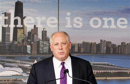 Patrick Joseph Quinn, Governor of Illinois, delivers a speech at the opening ceremony of an exhibition celebrating the city of Chicago at NATO Headquarters in Brussels March 22, 2012. REUTERS/Sebastien Pirlet