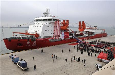 A general view shows Chinese ice breaker ship ''Xuelong'', also called ''Snow Dragon'', docking at Tianjin November 3, 2011. REUTERS/China Daily