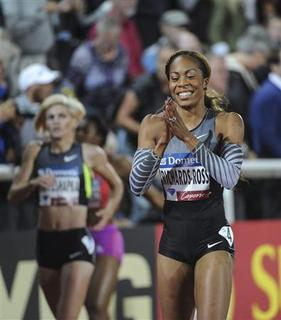 Sanya Richards-Ross of the U.S. reacts after winning the 400 m event at the Stockholm Samsung Diamond League event in Stockholm, August 17, 2012. REUTERS/Fredrik Sandberg/Scanpix Sweden