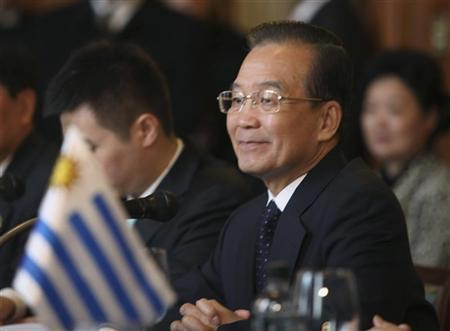 China's Premier Wen Jiabao attends a meeting with Uruguayan Vice-President and President of the Congress Danilo Astori, during a visit to the Congress building in Montevideo, June 23, 2012. Wen is in Uruguay for an official visit. REUTERS/Pablo La Rosa