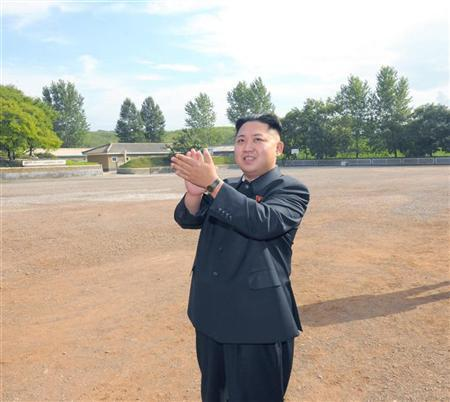 North Korean leader Kim Jong-Un visits a sub-unit under the Korean People's Army Unit 552 in this undated picture released by the North's official KCNA news agency in Pyongyang August 7, 2012. REUTERS/KCNA
