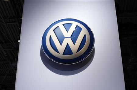 The Volkswagen logo is seen on display at the New York International Auto Show in New York City, April 20, 2011. REUTERS/Mike Segar