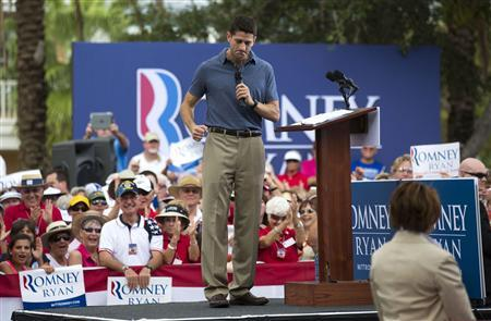 Republican vice presidential candidate Paul Ryan speaks during a campaign event at The Villages in Lady Lake, Florida August 18, 2012. REUTERS/Scott Audette
