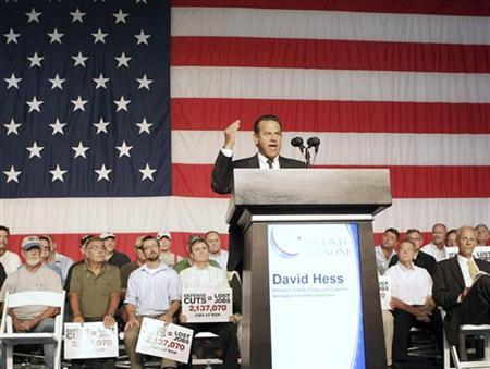 David Hess, president of Pratt and Whitney, speaks to his employees at a rally to call to attention upcoming defense budget cuts in West Palm Beach, Florida August 8, 2012. REUTERS/Robert Sullivan
