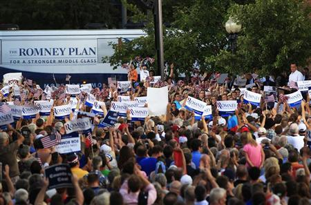 Republican U.S. presidential candidate Mitt Romney speaks at the Chillicothe Victory rally in Chillicothe, Ohio August 14, 2012. REUTERS/Shannon Stapleton