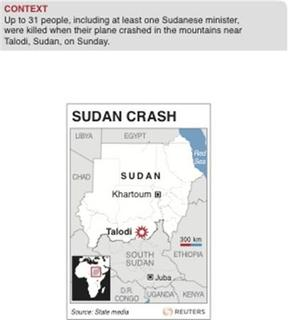 Map of Sudan locating Talodi, close to where a plane crashed and killed up to 31 people, including a Sudanese minister, on Sunday.