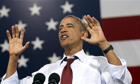 U.S. President Barack Obama speaks at a campaign event at Windham High School in Windham, New Hampshire August 18, 2012. REUTERS/Kevin Lamarque