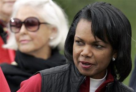 Former U.S. Secretary of State Condoleeza Rice attends the closing ceremonies of the Presidents Cup golf tournament in San Francisco, California in this file photo taken October 11, 2009. The Augusta National Golf Club, home of The Masters golf tournament, on Monday said it has admitted two women as members for the first time: former U.S. Secretary of State Condoleeza Rice and financier Darla Moore. REUTERS/Robert Galbraith/Files