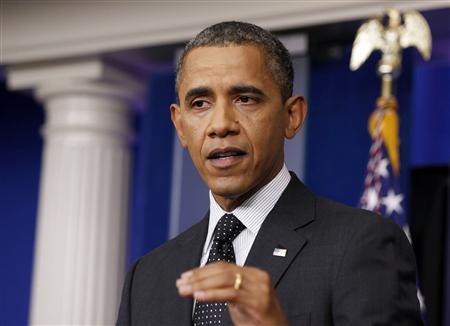 U.S. President Barack Obama speaks after dropping by in the press briefing room at the White House in Washington, August 20, 2012. REUTERS/Larry Downing