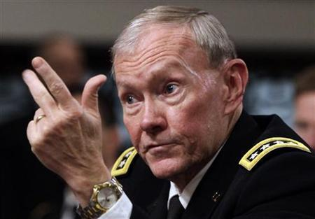 Joint Chiefs of Staff Gen. Martin Dempsey testifies before the Senate Armed Services Committee hearing on the Defense Authorization Request for Fiscal Year 2013 and the Future Years Defense Program on Capitol Hill in Washington, February 14, 2012. REUTERS/Yuri Gripas