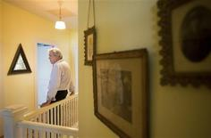 "Stirling Sotherby's real estate advisor Mark Arnold stands in the second floor of the home that Kate ""Ma"" Barker was shot dead by the FBI in 1935 in Ocklawaha, Florida August 18, 2012. REUTERS/Scott Audette"