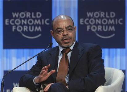 Ethiopia's Prime Minister Meles Zenawi attends a session at the World Economic Forum (WEF) in Davos, in this January 26, 2012 file photograph. Meles Zenawi, who had not been seen in several weeks, has died, reported Ethiopian state television on August 21, 2012. REUTERS-Christian Hartmann-Files