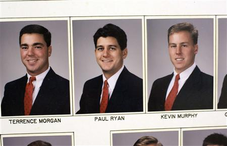 Photographs of Rep. Paul Ryan (R-WI) from a composite picture is seen at the Delta Tau Delta house at Miami University in Oxford, August 15, 2012. REUTERS/Aaron Bernstein
