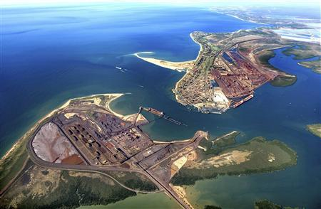 BHP Billiton facilities to load iron ore into ships at Port Hedland are seen in this undated file handout photograph obtained October 21, 2009. REUTERS/BHP Billiton/Handout/Files