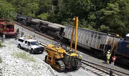 Workers begin righting an overturned freight train in Ellicott City, Maryland, August 21, 2012. REUTERS/Jonathan Ernst