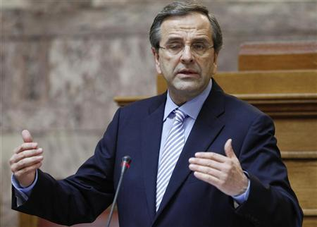 Greek Prime Minister Antonis Samaras addresses a parliamentary group of his party in Athens July 24, 2012. REUTERS/John Kolesidis