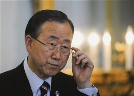 United Nations (UN) Secretary-General Ban Ki-moon speaks at a joint news conference with Britain's Foreign Secretary William Hague (not pictured) at the Foreign Secretary's official residence in London July 27, 2012. REUTERS/Ki Price