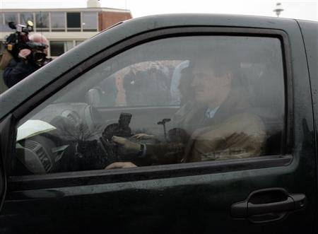 Republican Scott Brown leaves in his truck after casting his vote in the special election to fill the Senate seat of the late Edward Kennedy in Wrentham, Massachusetts January 19, 2010. Brown, who won the election and is now Senator-elect, crisscrossed the state in his 2005 GMC Canyon pick-up truck, with almost 200,000 miles on the odometer, and pressed the flesh at rallies in jeans and brown work-jacket. Picture taken January 19, 2010. REUTERS/Adam Hunger