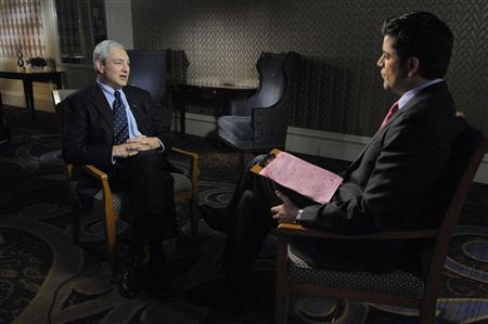 Dr. Graham Spanier, (L) former president of Penn State, speaks to ABC News' Josh Elliott about the Jerry Sandusky sex scandal during an interview with the network in this August 22, 2012 handout photo. Spanier said he has a heightened sensitivity to child abuse because as a boy he suffered beatings by his father that were so severe he required four surgeries to correct the physical damage. REUTERS/ABC News/Handout