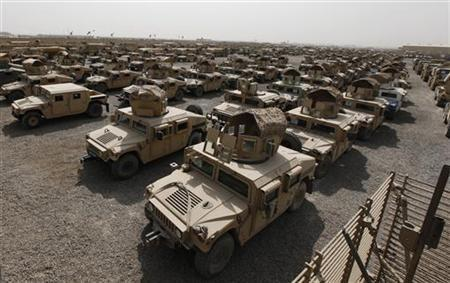 A view of humvees parked at a courtyard at Camp Liberty in Baghdad September 30, 2011. REUTERS/Mohammed Ameen