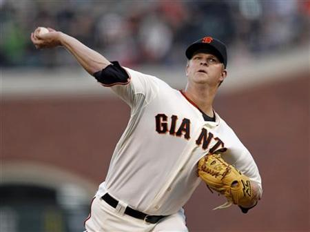 San Francisco Giants' pitcher Matt Cain releases the ball during the first inning of their MLB National League baseball game against the Philadelphia Phillies in San Francisco, California April 18, 2012. REUTERS/Beck Diefenbach