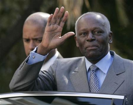 Angola's President Jose Eduardo dos Santos waves as he leaves Sao Bento Palace after a meeting with Portuguese Prime Minister Jose Socrates in Lisbon March 11, 2009. REUTERS/Hugo Correia