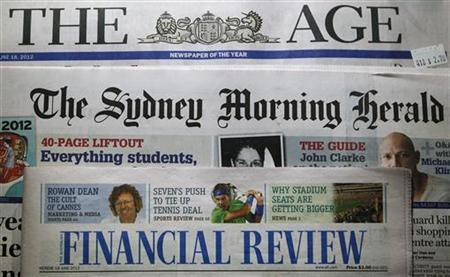 Mastheads of The Age, The Sydney Morning Herald and the Australian Financial Review, all Fairfax Media publications, are pictured in this photo-illustration in Sydney June 18, 2012. REUTERS/Daniel Munoz