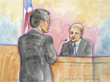 Apple attorney Bill Lee is shown questioning Samsung's chief strategy officer Justin Denison (R) in the witness stand, looks on, in this court sketch during a high profile trial between Samsung and Apple in San Jose, California, August 3, 2012. REUTERS/Vicki Behringer