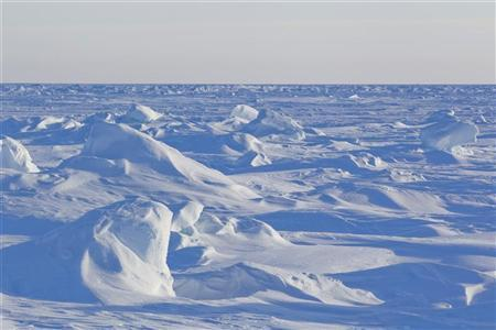Wind patterns are left in the ice pack that covers the Arctic Ocean north of Prudhoe Bay, Alaska March 18, 2011. REUTERS/Lucas Jackson