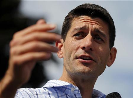 U.S. Republican vice-presidential candidate, Representative Paul Ryan (R-WI) speaks during a town hall meeting campaign stop with U.S. Republican presidential candidate and former Massachusetts Governor Mitt Romney in Manchester, New Hampshire August 20, 2012. REUTERS/Brian Snyder