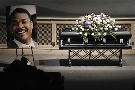 Rodney King's casket is pictured during his memorial service at the Forest Lawn Hall of Liberty in Los Angeles, California, June 30, 2012. REUTERS/Jonathan Alcorn