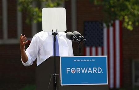 A teleprompter obscures U.S. President Barack Obama as he speaks during a campaign event at Capital University in Columbus, Ohio August 21, 2012. Obama is on a two-day campaign trip to Ohio, Nevada and New York. REUTERS/Kevin Lamarque