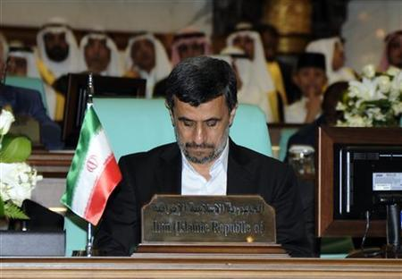 Iran's President Mahmoud Ahmadinejad attends the opening ceremony of the Organisation of Islamic Conference (OIC) summit in Mecca August 14, 2012. REUTERS/Saudi Press Agency/Handout