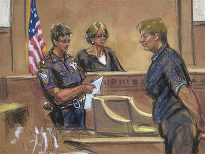Lois Ann Goodman, 70, (R) is pictured in this August 23, 2012 court sketch in Manhattan Criminal Court in New York. Goodman, a professional tennis official who was preparing to officiate at the U.S. Open, has been charged with the murder of her husband Alan Goodman, who was found dead in their home April 17, 2012. REUTERS/Jane Rosenberg