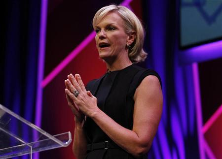 Elisabeth Murdoch, Shine Group chairman and daughter of News Corporation chairman and CEO Rupert Murdoch, gestures during a rehearsal of her MacTaggart Lecture at the Edinburgh International Conference Centre (EICC) during the Edinburgh International Television Festival in Edinburgh, Scotland August 23, 2012. REUTERS/David Moir