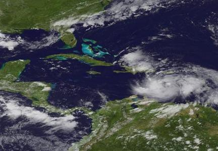 Tropical Storm Isaac is seen in the Caribbean on August 23, 2012. REUTERS-NOAA