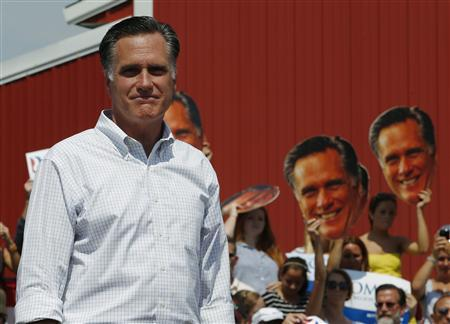 Republican presidential candidate and former Massachusetts Governor Mitt Romney speaks at a campaign rally at the Long Family Orchard and Farm in Commerce, Michigan August 24, 2012. REUTERS/Brian Snyder