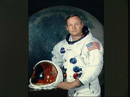 Portrait of Astronaut Neil A. Armstrong, commander of the Apollo 11 Lunar Landing mission in his space suit, with his helmet. GAC/JP