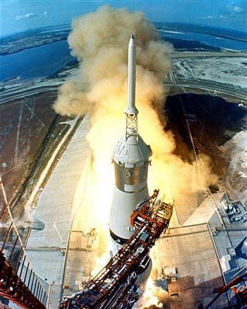 This NASA remote camera file image shows the July 16, 1969 launching of Apollo 11, the first manned mission to land on the Moon, from the Kennedy Space Center Launch Complex in Florida. REUTERS/NASA/Handout/Files
